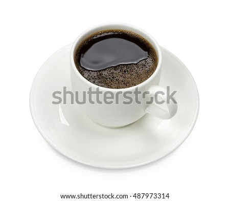 coffee cup and saucer isolated white background