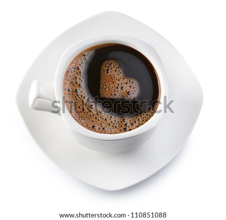 Coffee cup and saucer on a white background. Foam in the form of the heart. File contains the path to cut.