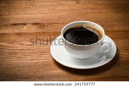 Coffee cup and saucer on a wooden table.
