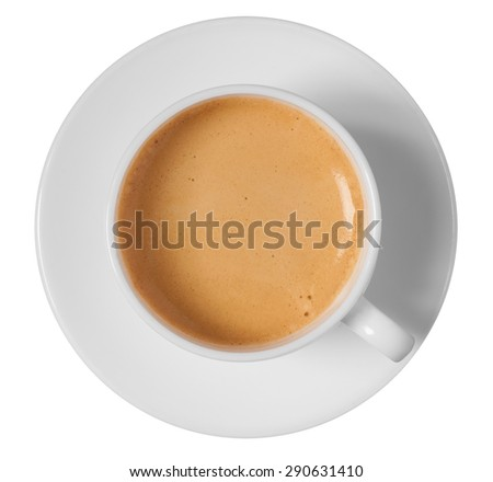 coffee cup and saucer top view isolated on white background - stock photo