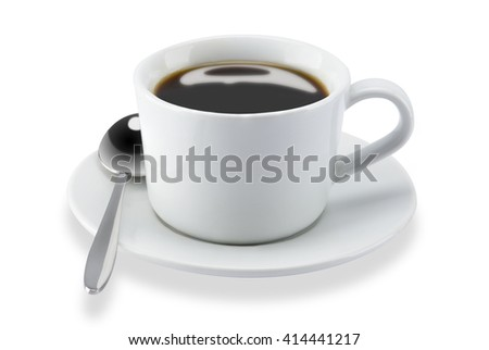 coffee cup and spoon isolated on white background.with clipping path