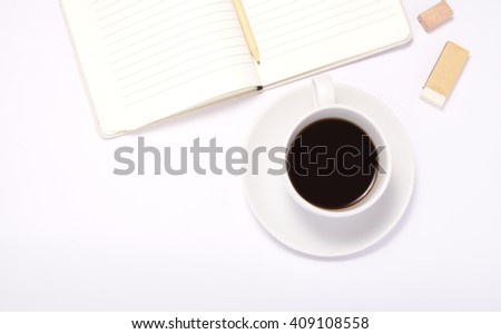 Coffee cup and stationery set, pencil,eraser, pencil shapener.