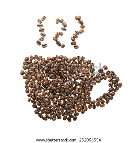 Coffee cup and steam made from beans, grain. Isolated on white background. Retro  - stock photo