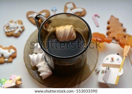 coffee cup and sweets christmas