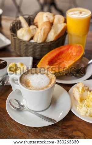 Coffee cup as a part of the typical Brazilian breakfast in Rio de Janeiro.