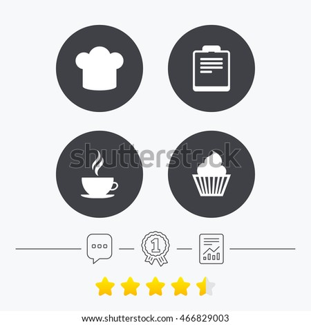 Coffee cup icon. Chef hat symbol. Muffin cupcake signs. Document file. Chat, award medal and report linear icons. Star vote ranking.