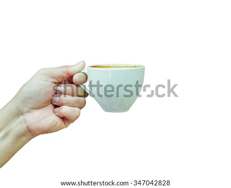 Coffee cup in hand isolated on white background. - stock photo