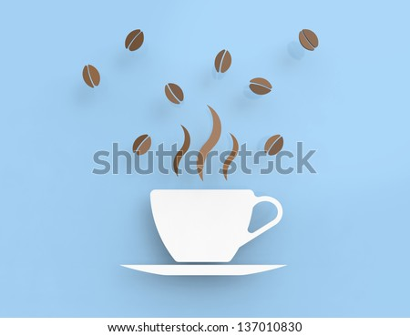 Coffee cup in vector-look and fresh beans on a blue background