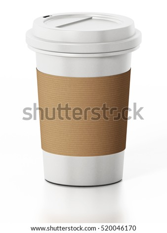 Coffee cup isolated on white background. 3D illustration.