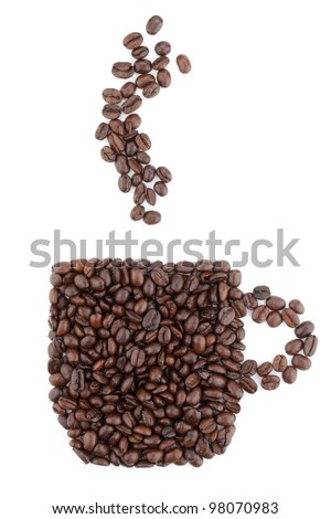 Coffee cup made from beans. Isolated on white background