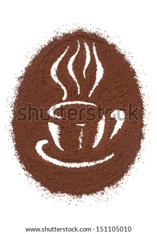 Coffee Cup Made From Coffee Beans Background. - stock photo