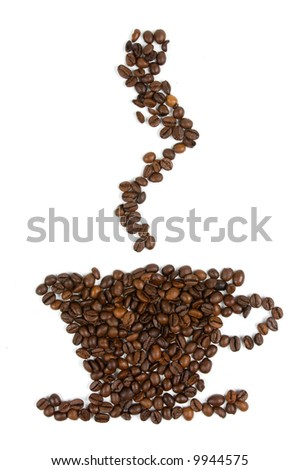 Coffee cup made from coffee beans over white - stock photo