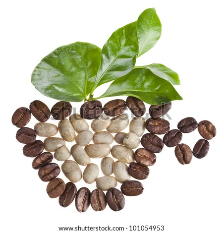 cup made of coffee beans and fresh leaves of coffee tree surface HD Wide Wallpaper for Widescreen