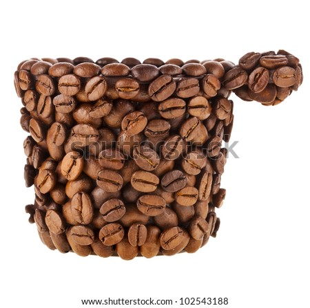 Coffee cup made of coffee beans isolated on white background - stock photo