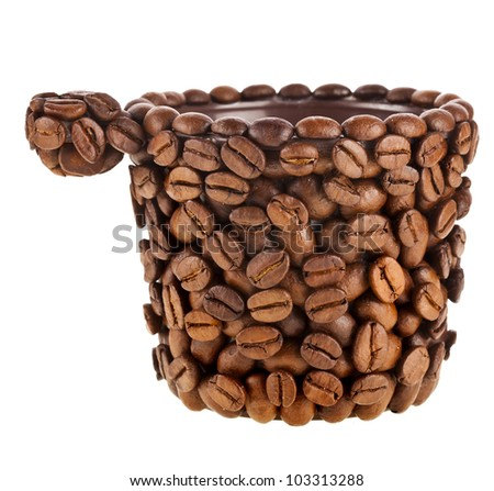 Coffee cup made of coffee beans on white background - stock photo