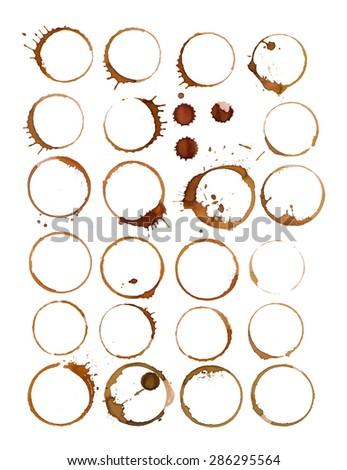 Coffee cup marks collection on white background - stock photo