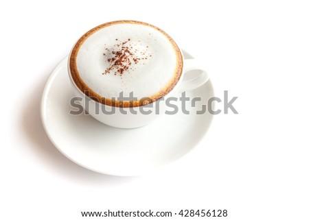 Coffee cup of cappuccino on white background isolated