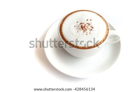 Coffee cup of cappuccino on white background isolated with copy space on the left