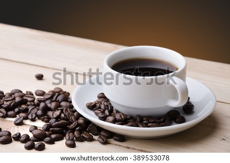Coffee. Cup of coffee. Coffee beans . Concept - stock photo