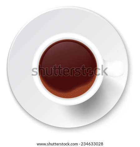 Coffee cup on a porcelain saucer isolated on a white background. Raster copy. - stock photo