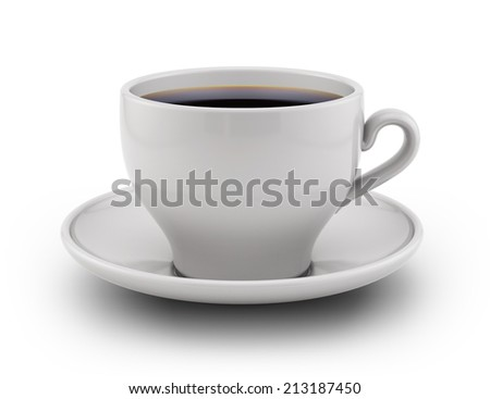Coffee cup on a white background. - stock photo