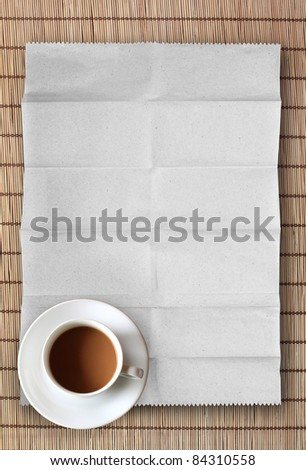 coffee cup on blank paper with bamboo plate