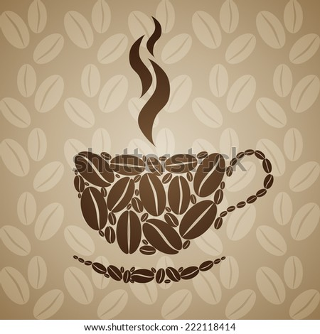 Coffee cup on seamless background with coffee beans.  - stock photo