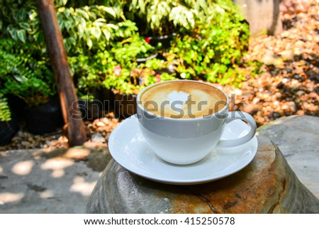 Coffee cup on Table in marble. - stock photo