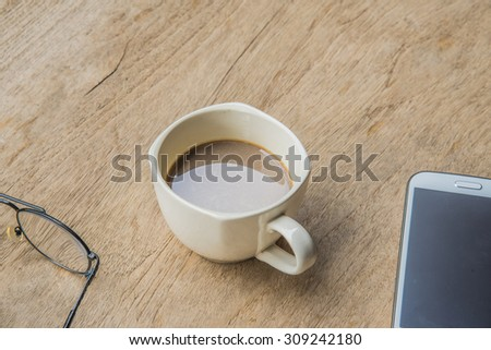 coffee cup  on the desk