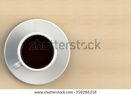 Coffee cup on wood table