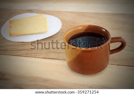 Coffee cup on wooden table background
