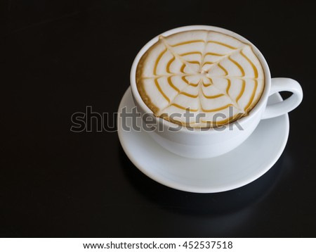 Coffee cup  on wooden table on back background  - stock photo