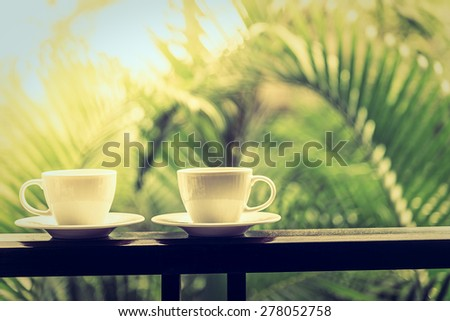 Coffee cup outdoor - vintage filter