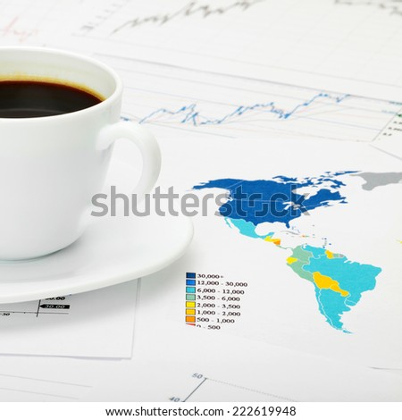 Coffee cup over world map - 1 to 1 ratio - stock photo
