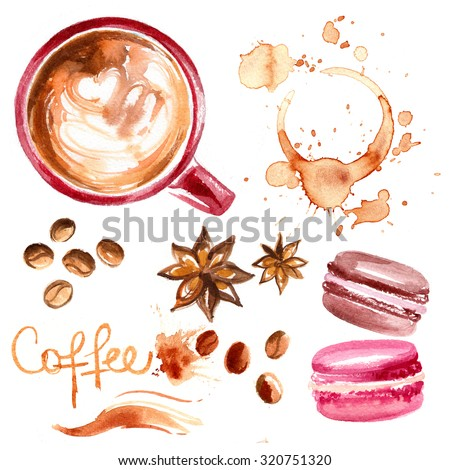 Coffee cup painted with watercolors on white background. The drink and sweets. Abstract watercolor spots, traces of coffee. Coffee beans. Cakes macaron. - stock photo
