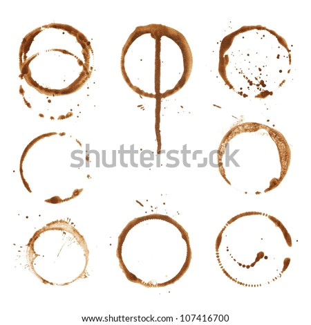 coffee cup prints rings - stock photo