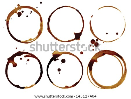 Coffee cup rings isolated on a white background - stock photo