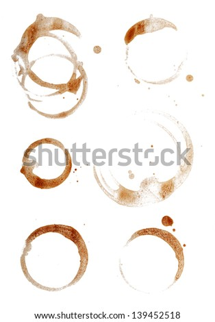 Coffee Cup Rings Isolated on White. - stock photo