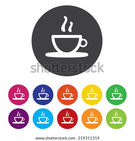 Coffee cup sign icon. Hot coffee button - stock photo
