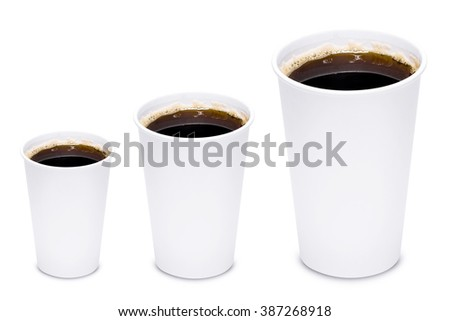 Coffee cup sizes isolated on white background - stock photo