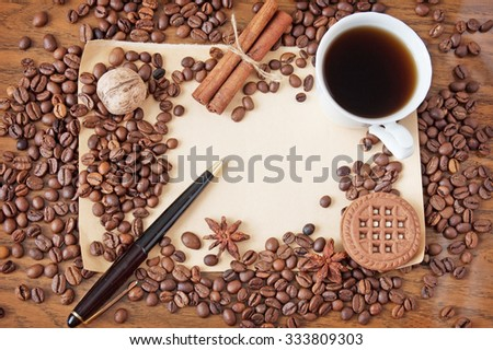 Coffee cup,spice and coffee beans, pen and old paper blank on a wooden table and sack background. Vintage image