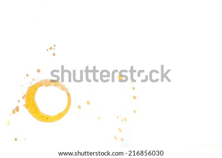 Coffee cup stain isolated on white background