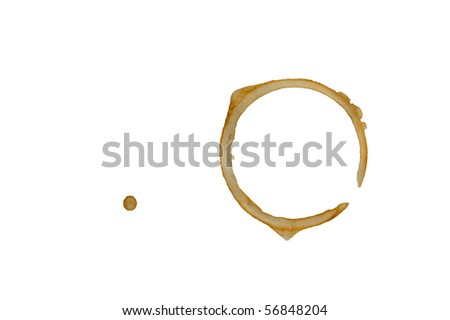 Coffee cup stain isolated on white background.