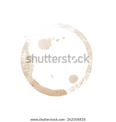 coffee cup stain on a white background - stock photo