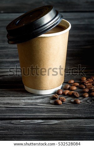 coffee cup take away at wooden background