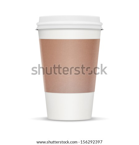 Coffee cup to take away. White blank cup with heat protector. Isolate on a white background with clipping path and lots of copy space.