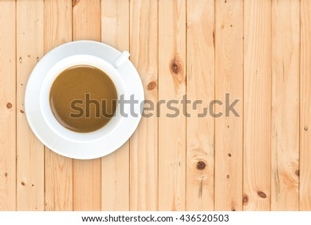 coffee cup top view on wood table background