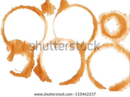 Coffee cup tracks isolated on white background