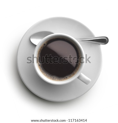 coffee cup, view from above - stock photo