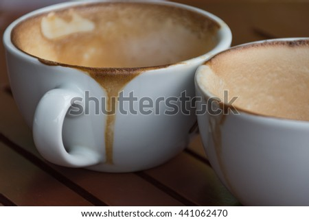 Coffee cup white color empty and dirty after drinking - stock photo